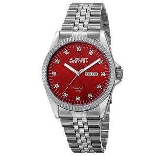 August Steiner Men's Quartz Diamond Markers Stainless Steel Red Bracelet Watch