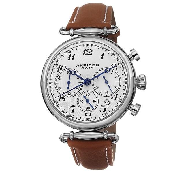 Akribos XXIV Women's Multifunction Chronograph Leather Silver-Tone Strap Watch - Brown 15567605