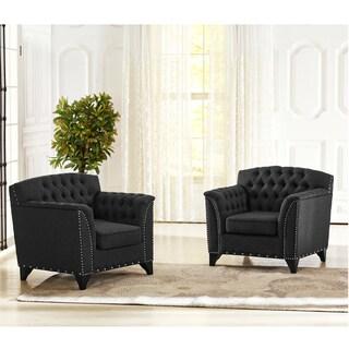 Baxton Studio Pavlov Grey Fabric Upholstered Accent Chair