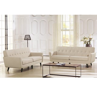 Baxton Studio Novak Contemporary Beige Linen Upholstered Sofa With Button Grid Tufting