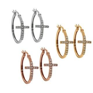 Eternally Haute Sterling Silver Pave Cubic Zirconia Cross Hoop Earrings