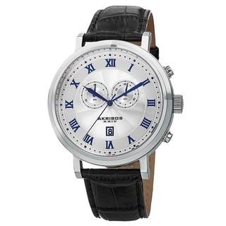 Akribos XXIV Men's Multifunction Swiss Chronograph Leather Strap Watch