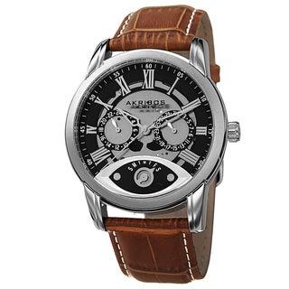 Akribos XXIV Men's Multifunction Step Dial Leather Brown Strap Watch