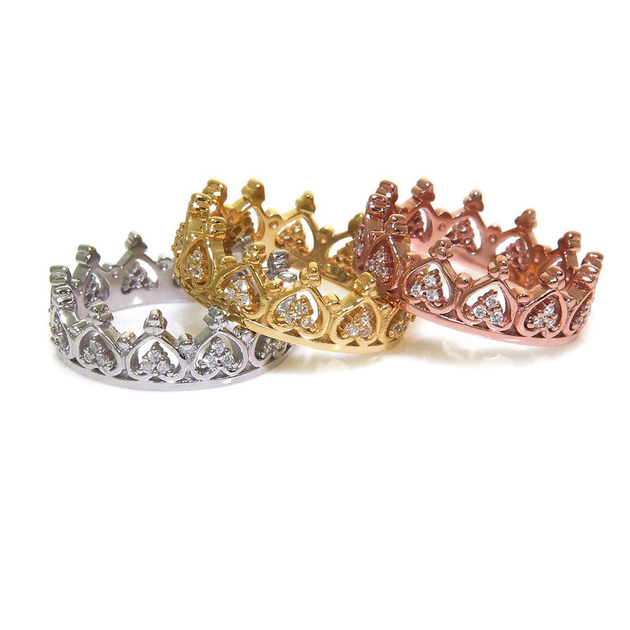 Eternally Haute Sterling Silver Pave Cubic Zirconia Elizabeth Crown Ring