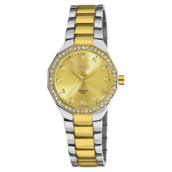August Steiner Womens Diamond Swiss Quartz Alloy Bracelet Watch