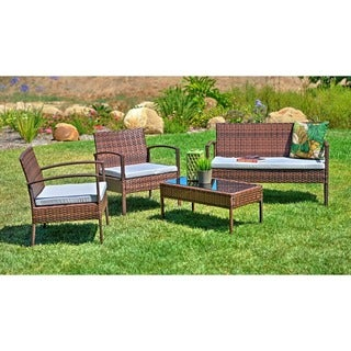 Teaset 4-piece Patio Conversation Set with Grey Cushions