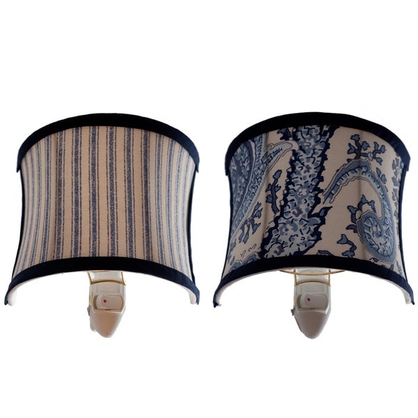 Demi Lune Pinstripes and Paisley Night Lights (Set of 2)