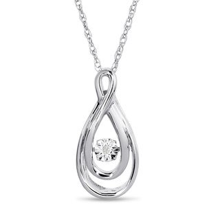 Sterling Silver Shimmering Stars Collection Swirl Teardrop Diamond Accent Necklace (H-I, I1-I2)