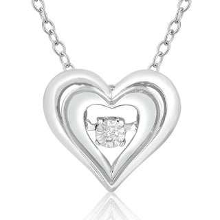 Sterling Silver, 18-inch es Shimmering Stars Diamond Accent Double Heart 18-inch Necklace (H-I, I1-I2)