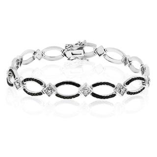 Platinum Overlay Contemporary Black and White Diamond 7-inch Bracelet (J-K, I1-I2)