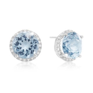 Sterling Silver 9ct TGW Blue Topaz and Created Diamond Halo Stud Earrings