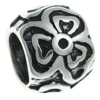 Queenberry Sterling Silver Round Flower European Bead Charm