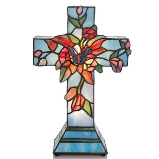 Stained Glass Flowers and Vines Cross Lamp