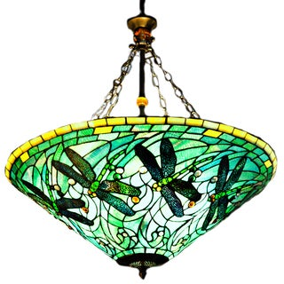 Stained Glass Tiffany Style Dragonfly Inverted Hanging Lamp