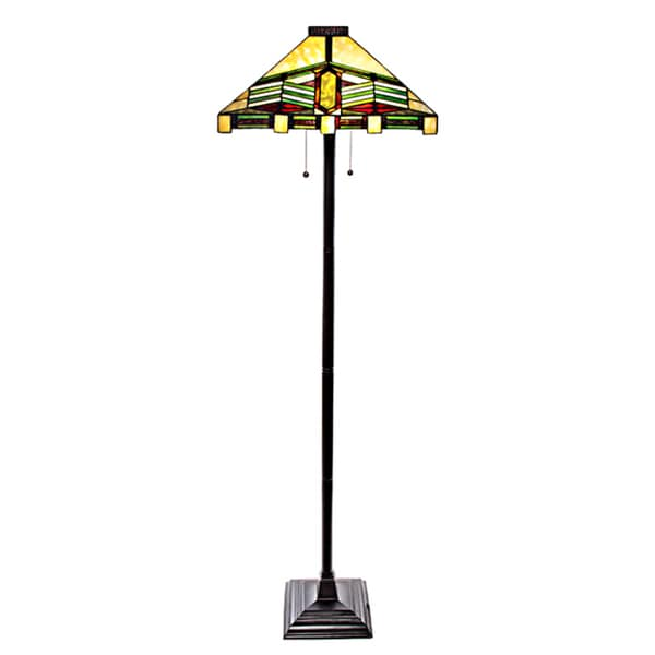 Stained Glass Mission Style Stone Mountain Floor Lamp