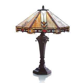 Traditional Mission Style Stained Glass Table Lamp
