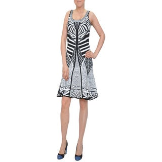 Bellario New York Women's Black/ White Mix Pattern Fit-and-flare Knit Dress