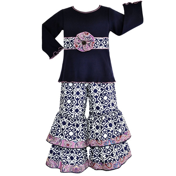 Annloren Girls' Boutique Navy Blue Damask Long Sleeve Pants Outfit