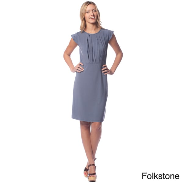 AtoZ Women's Modal Crew Neck Pleat Dress