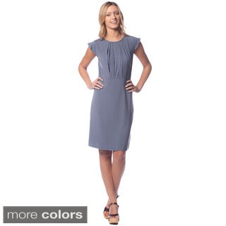 AtoZ Women's Modal Crew Neck Pleat Dress