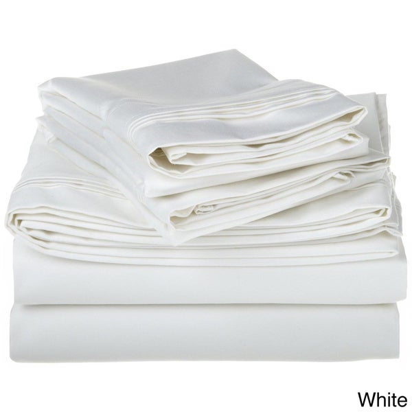 Egyptian Cotton 1500 Thread Count Solid Deep Pocket Sheet Set Queen White (As Is Item)