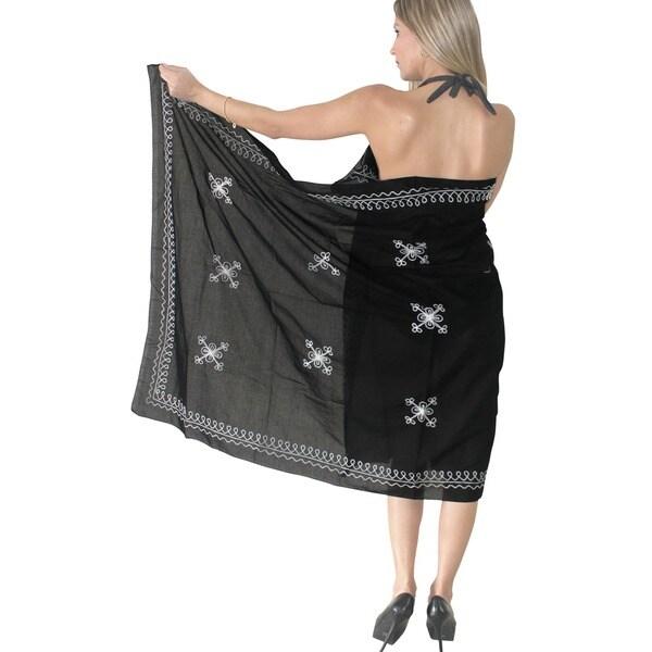La Leela 100-percent Cotton Designer Embroidered Swim Beach Wrap Sarong in Black