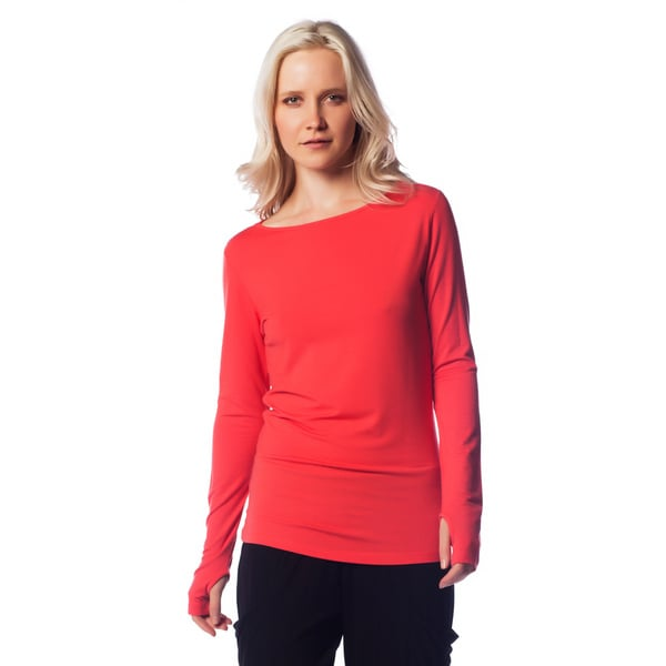 AtoZ Women's Modal Thumb Hole Long Sleeve Top