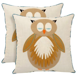 Snoozing Owl Applique 20-inch Toss Pillow (Set of 2)