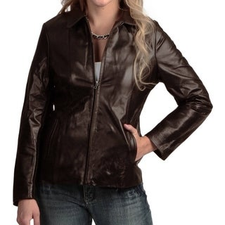 Women's Chocolate Brown Leather Jacket with Zip out Liner