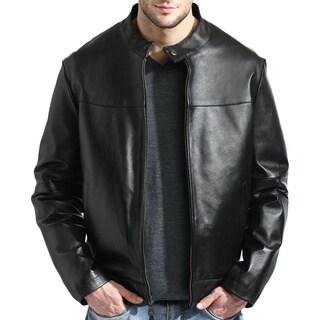 Men's Black Leather Moto Jacket