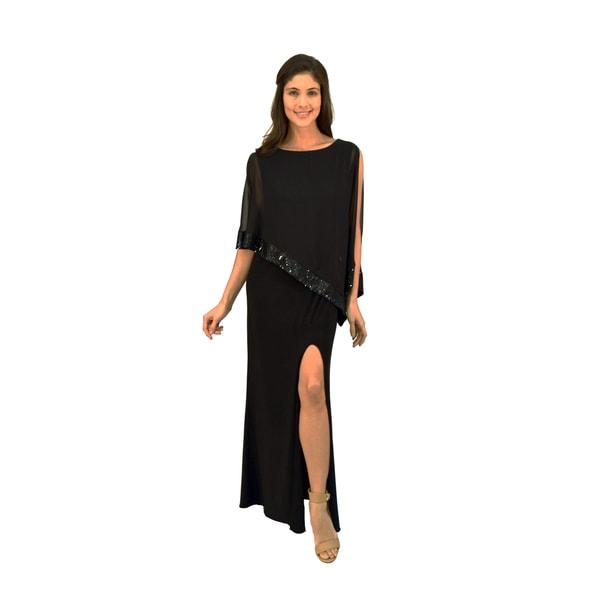 R&M Richards Chiffon Sequin Trim Evening Gown