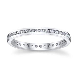 14k White Gold 1/3ct TDW Diamond Eternity Wedding Band (H-I, SI1-SI2)
