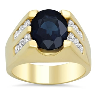 14k Yellow Gold 1 3/4ct TDW Diamond and Oval Blue Sapphire Ring (F-G, SI1-SI2)