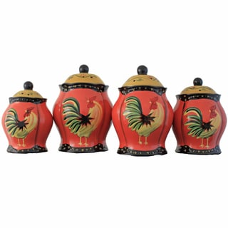 Grand Rooster Hand-painted 4-piece Food Storage Canister Set