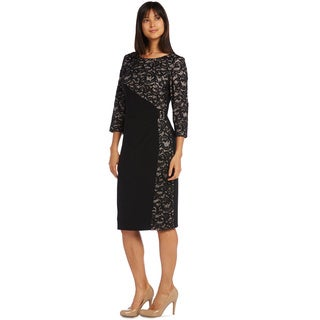 R&M Richards Panel Lace Cocktail Dress