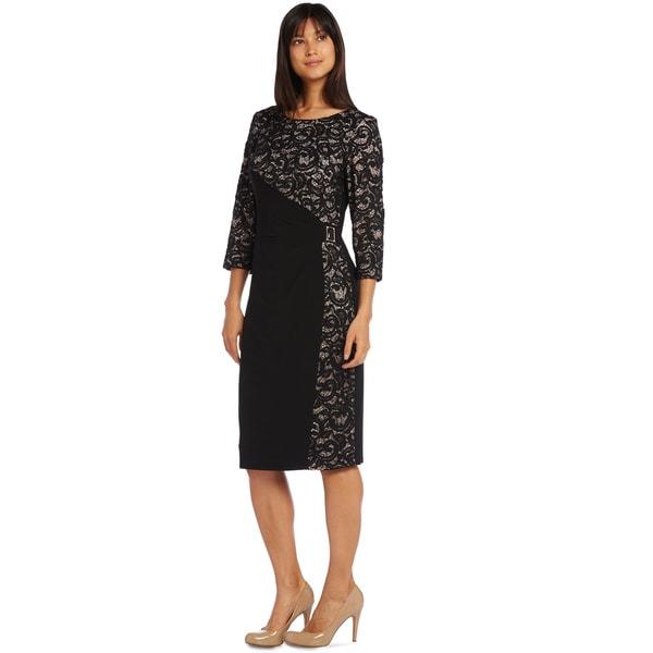R&M Richards Panel Lace Cocktail Dress