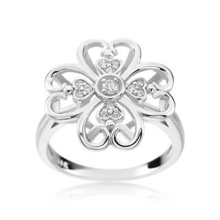 SummerRose 14k White Gold 1/8ct TDW Diamond Flower Ring (H-I, SI1-SI2)