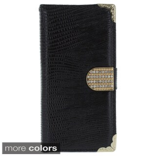 Metal Wrap Corner Rhinestone Flip Cover Phone Case for Apple iPhone 6