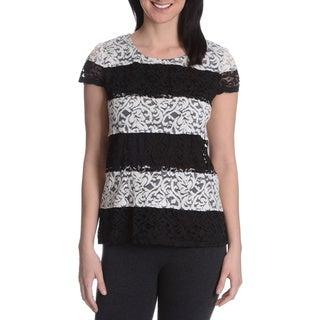 Adiva Women's Lace Stripe Short Sleeve Top