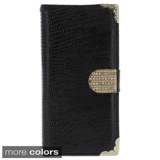 Metal Wrap Corner Rhinestone Flip Cover Phone Case for 5.5-inch Apple iPhone 6 Plus