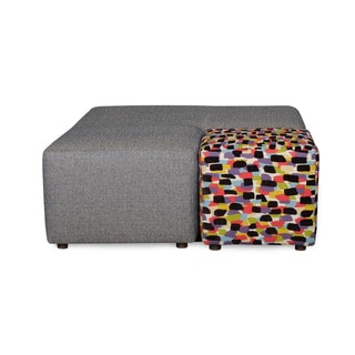 Sofab Josie Azure Cocktail Ottoman With Pull Out Accent Cube