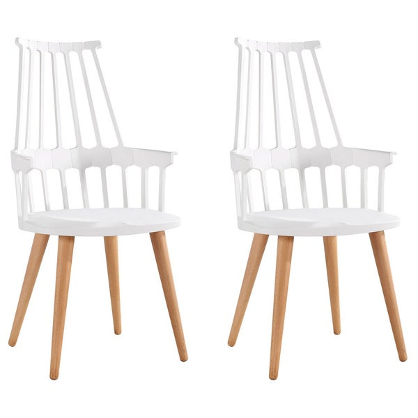 High Backed Chair with Wooden Legs