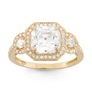 Gioelli 10k Yellow Gold Asscher-cut Cubic Zirconia Ring