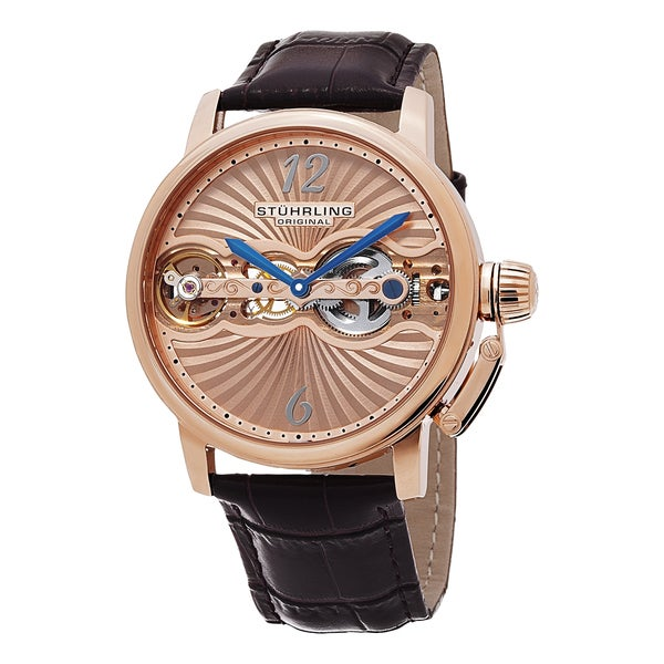 Stuhrling Original Men's Doppler Skeletonized Mechanical Leather Strap Watch 15571128