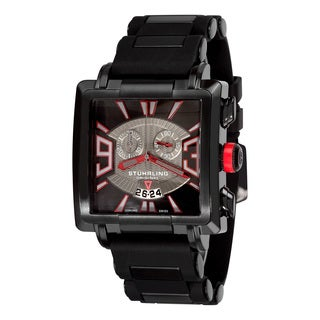 Stuhrling Original Men's Capo Chronograph Swiss Quartz Rubber Strap Watch