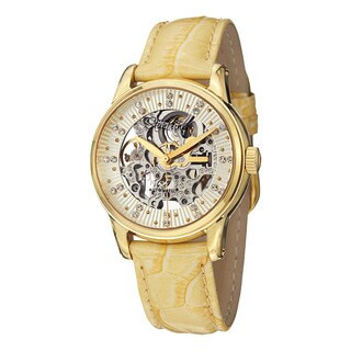 Stuhrling Original Women's Stella Automatic Austrian Crystal Leather Strap Watch