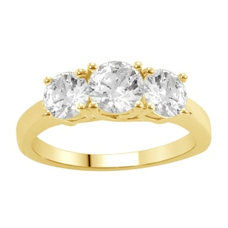 14k Yellow Gold 2ct TDW Diamond 3-stone Anniversary Ring (H-I, I1-I2)