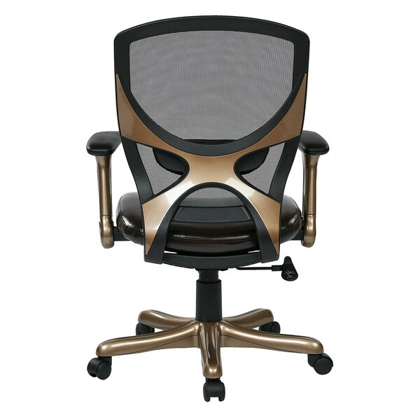 Cocoa Gold Woven Mesh Back Bonded Leather Manager's Chair with Flip Arms
