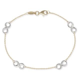 14k Two-tone Gold Infinity Station Link 7.25-inch Bracelet