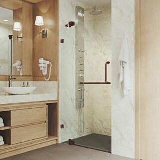 "VIGO Pirouette 42-inch Frameless Shower Door 3/8"" Clear Glass/Oil Rubbed Bronze Hardware"